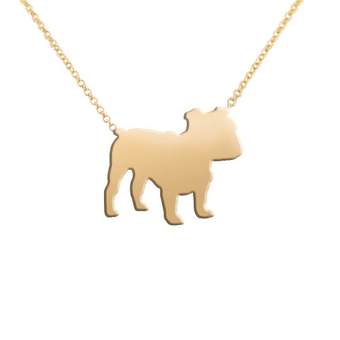 14k Gold Bulldog Pendant Necklace