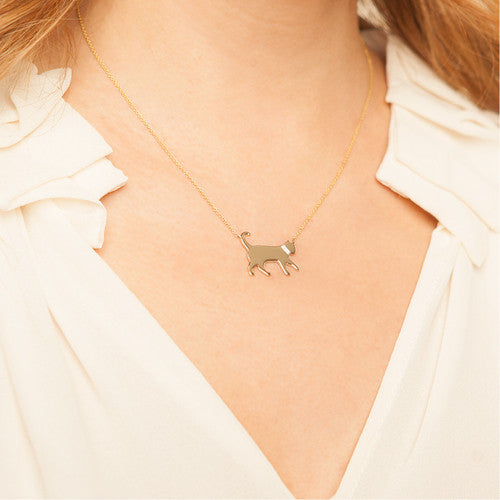 14k Gold & Diamond Cat Pendant Necklace