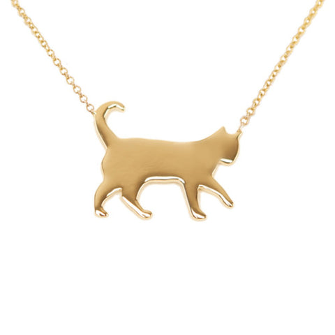 14k Gold Cat Pendant Necklace
