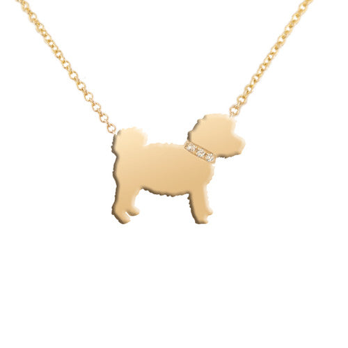 14k Gold & Diamond Cockapoo Pendant Necklace