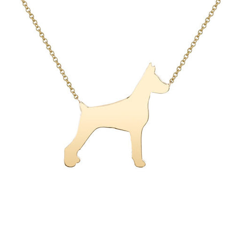 14k Gold Doberman Pendant Necklace