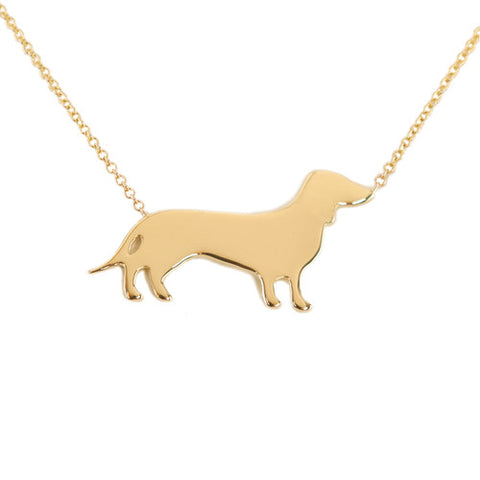 14k Gold Dachshund Pendant Necklace