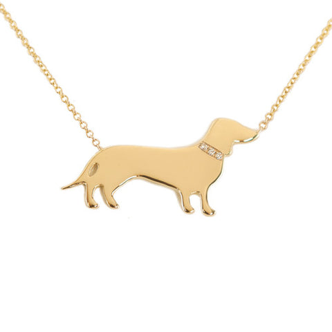 14k Gold & Diamond Dachshund Pendant Necklace