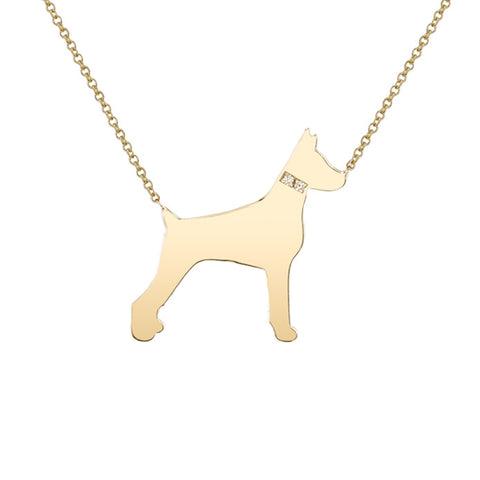 14k Gold & Diamond Doberman Pendant Necklace