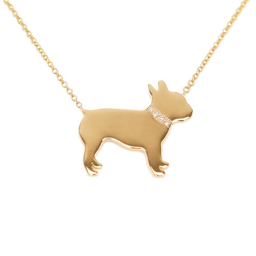 14k Gold & Diamond French Bulldog Pendant Necklace