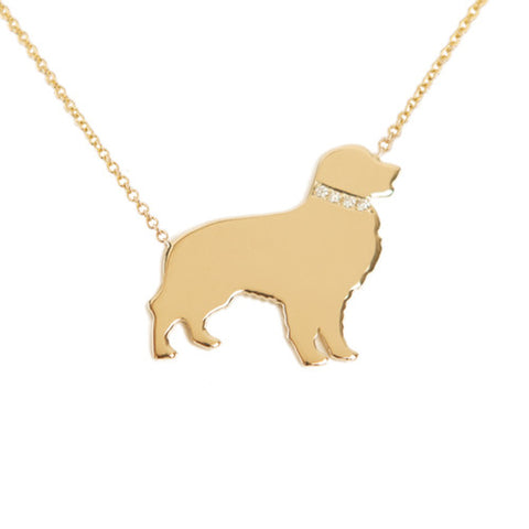 14k Gold & Diamond Golden Retriever Pendant Necklace