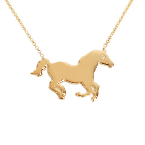 14k Gold & Diamond Horse Pendant Necklace