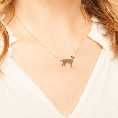 14k Gold & Diamond Labrador Retriever Pendant Necklace