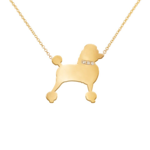 14k Gold & Diamond Poodle Pendant Necklace