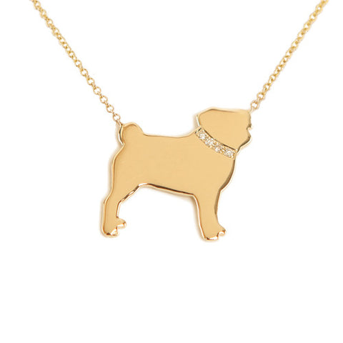 14k Gold & Diamond Pug Pendant Necklace