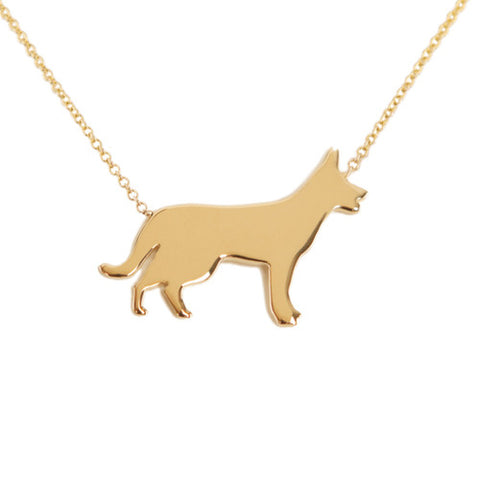 14k Gold German Shepherd Pendant Necklace