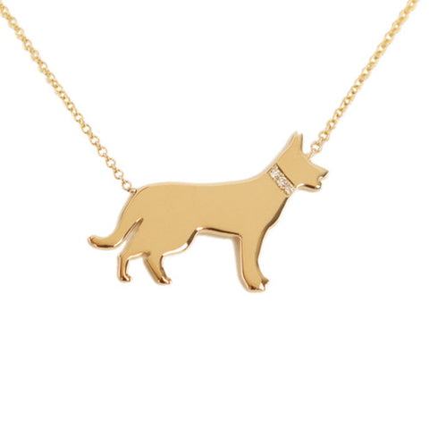 14k Gold & Diamond German Shepherd Pendant Necklace