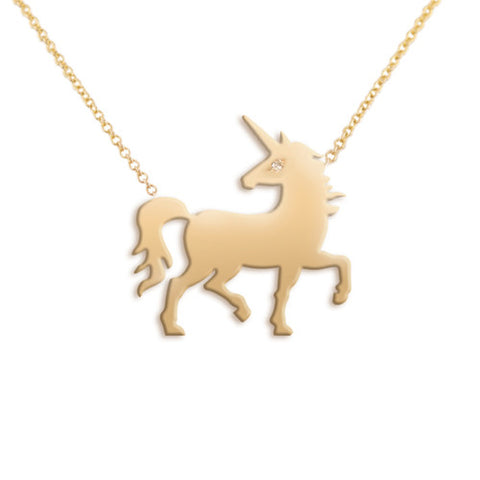 14k Gold & Diamond Unicorn Pendant Necklace