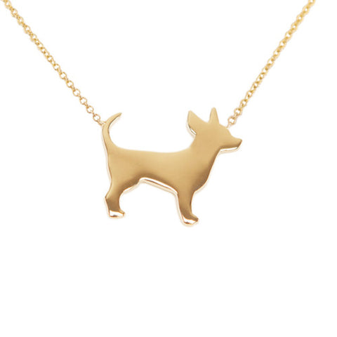 14k Gold Chihuahua Pendant Necklace