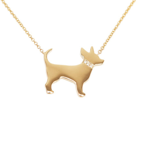 14k Gold & Diamond Chihuahua Pendant Necklace