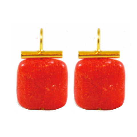 18k Gold Coral Quartz Drop Earrings
