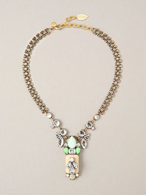 Delilah Brass & Glass Cabachon Statement Necklace