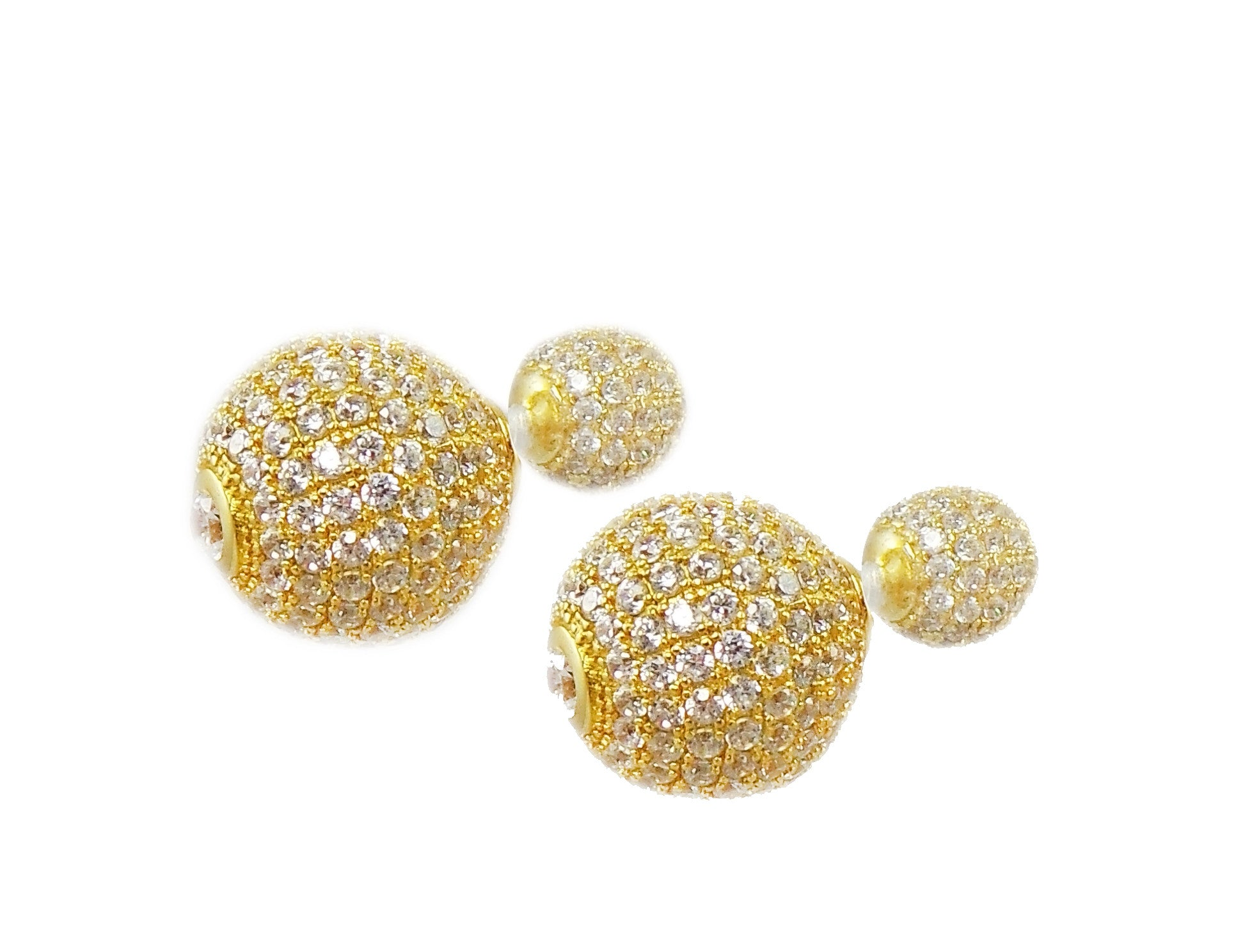 Gold Double Ball Stud Earrings – Favery