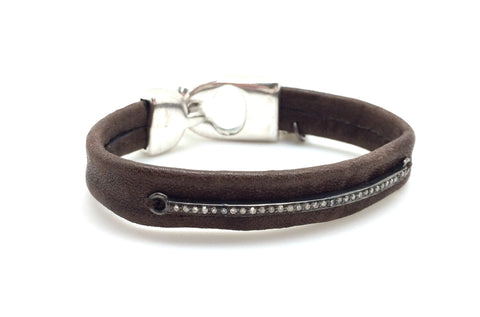 Diamond Bar Distressed Brown Leather Bracelet