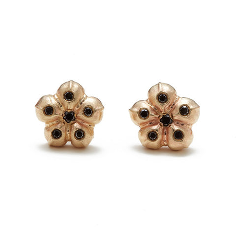 14k Gold Flower Black Diamond Stud Earrings