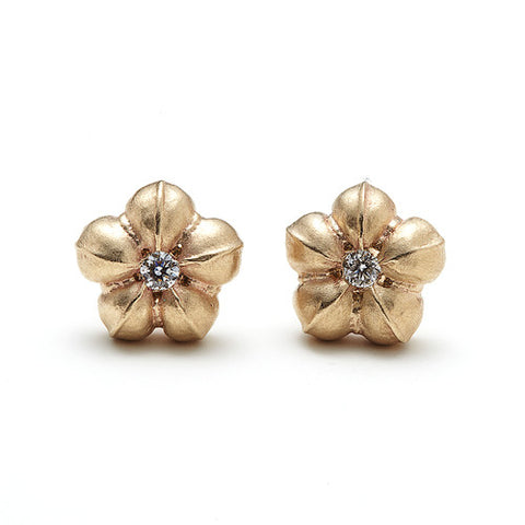 14k Gold & Black Diamond Flower Stud Earrings