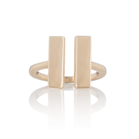 14k Gold Parallel Bar Ring
