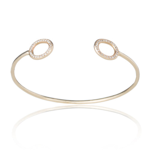 14k Gold & Diamond Oval Open Cuff Bracelet