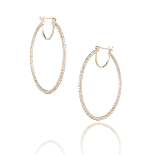14k Gold & Diamond Large Hoop Earrings
