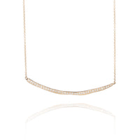 14k Gold & Diamond Petite Wavy Bar Necklace