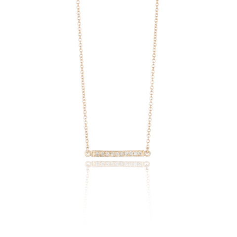 14k Gold & Diamond Tiny Bar Necklace