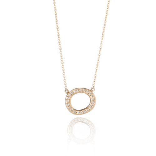 14k Gold & Diamond Petite Oval Pendant Necklace