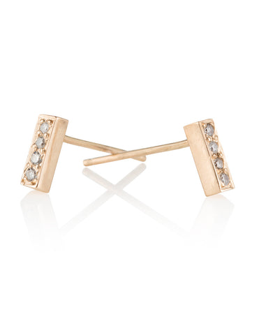 14k Gold & Diamond Bar Stud Earrings