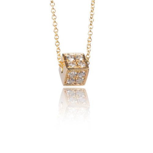 14k Gold Pave Diamond Cube Pendant Necklace