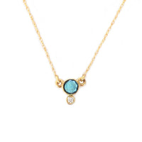 14k Gold Labradorite and Diamond Drop Pendant