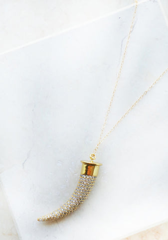 Swarovski Crystal & Shell Tooth Necklace