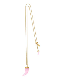 Pink Double Tooth Necklace