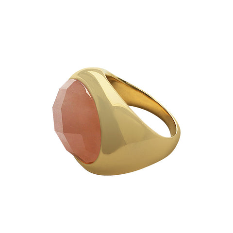 14k Gold Rose Quartz Signet Ring