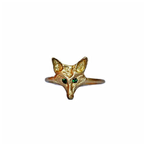 14k Gold Fox Emerald Ring