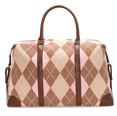 Green Striped Duffle Weekender Bag