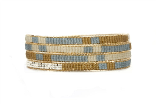 Sky Blue Beaded Wrap Bracelet
