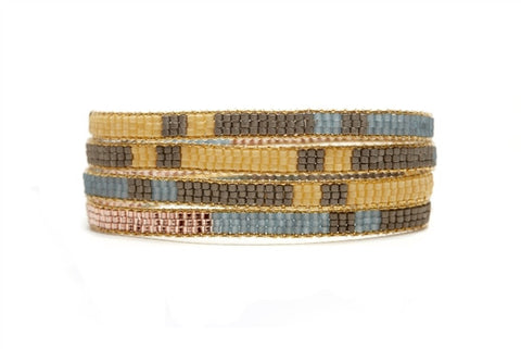 Gold & Brown Beaded Wrap Bracelet