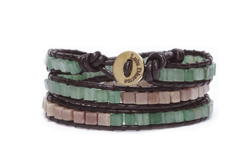 Green Aventurine & Rhodonite Gemstone Wrap Bracelet