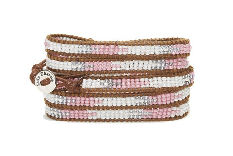 Silver & Rose Beaded Wrap Bracelet