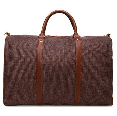 Brown Linen Weekend Bag