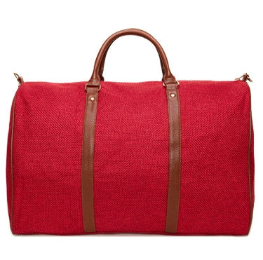 Red Linen Weekend Bag