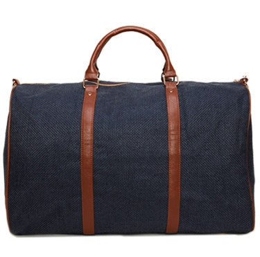 Navy Linen Weekend Bag
