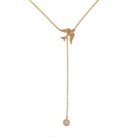 14k Gold & Diamond Bird Lariat Necklace