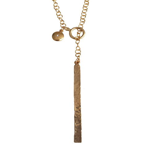 Gold Bar Lariat Necklace