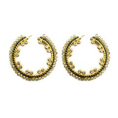 Swarovski Crystal & Miyuki Bead Hoop Earrings