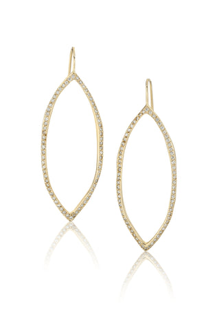 14k Gold & Diamond Oval Hoop Earrings